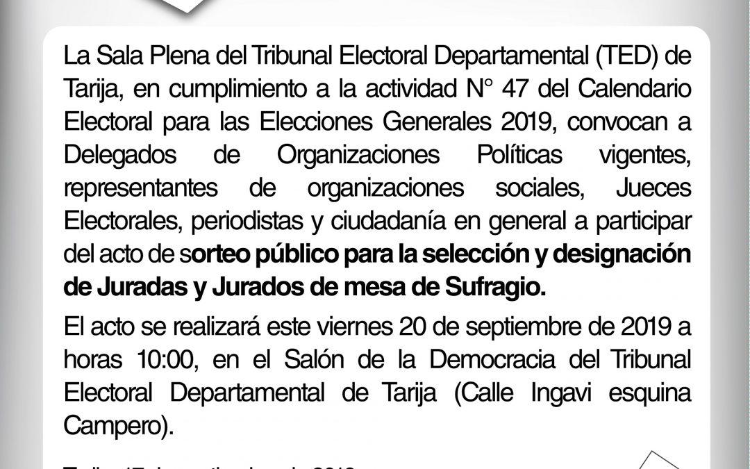CONVOCATORIA A SORTEO PÚBLICO DE JURADOS/AS ELECTORALES