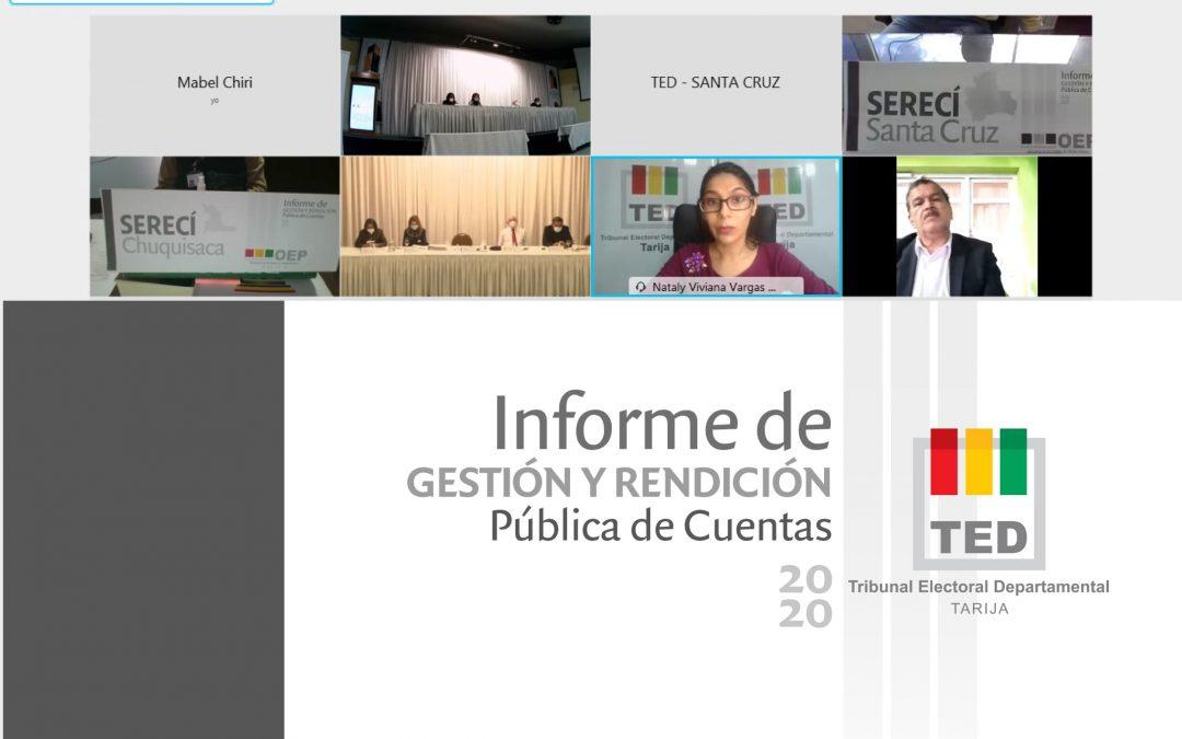 EL TED TARIJA PRESENTA INFORME DE LABORES Y RENDICIÓN DE CUENTAS DE LA GESTIÓN 2020