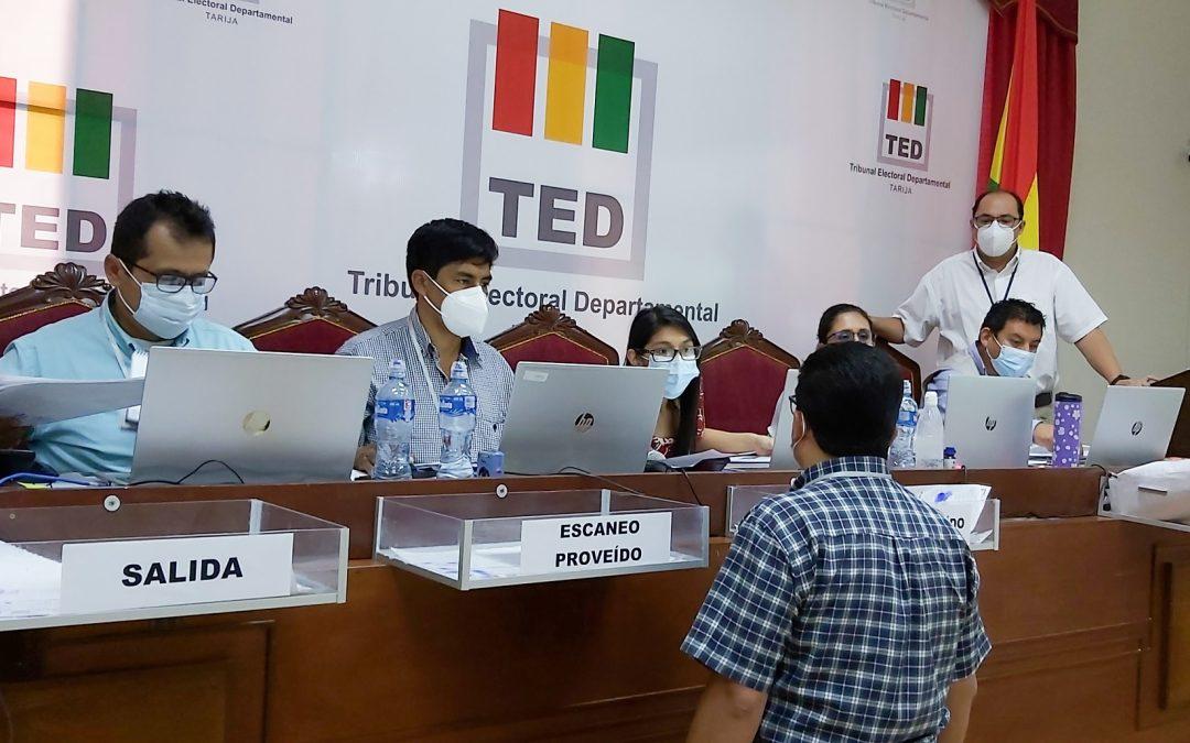 EL TED TARIJA CONCLUYE EL CÓMPUTO DE ACTAS DE VOTACIÓN DE 5 MUNICIPIOS